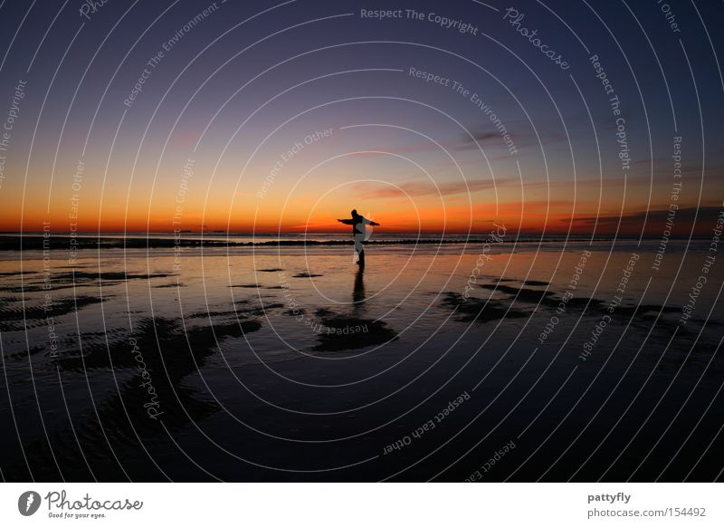 Human being Ocean Joy Beach Colour Dark Cold Ice Coast Sunset Celestial bodies and the universe
