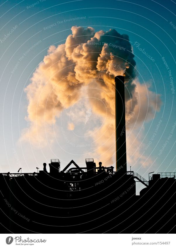 Sky Nature Environment Climate Industry Industrial Photography Many Smoke Factory Cloudless sky Environmental protection Exhaust gas Chimney Climate change