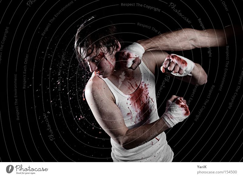 fisted Blood Perspiration Inject Face Fight Martial arts Boxing Kickboxing Hard Power Force Blow Chastisement Fist Blood stain
