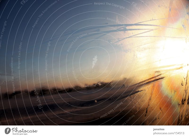 Sky Sun Winter Vacation & Travel Street Cold Car Ice Speed Motor vehicle Frost Highway Traffic infrastructure Car Window