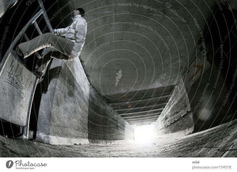 Secret passage III Light Escape Perspective Distorted Construction site No admittance Man Climbing Concrete Slaughterhouse Derelict Fisheye