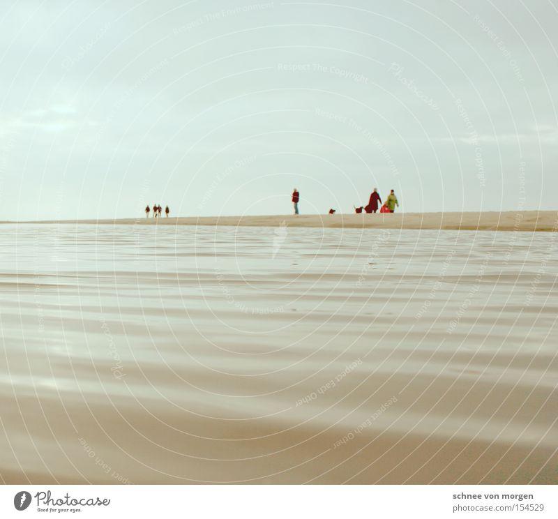 Dog Human being Sky Man Blue Water Ocean Beach Winter Far-off places Cold Coast Sand Lake Horizon Waves