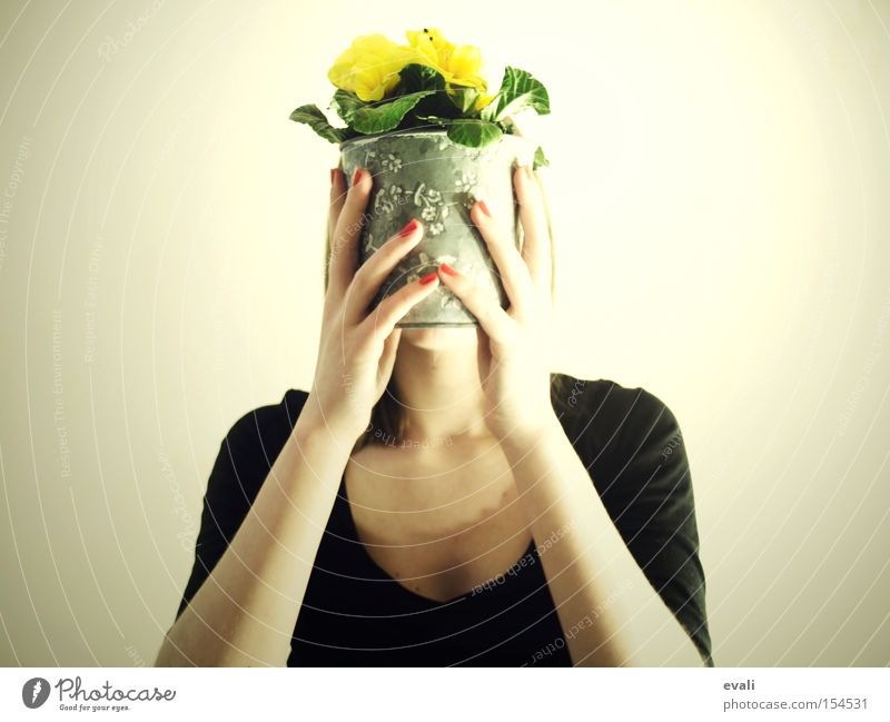 Woman Hand Flower Red Yellow To hold on Hide Pot