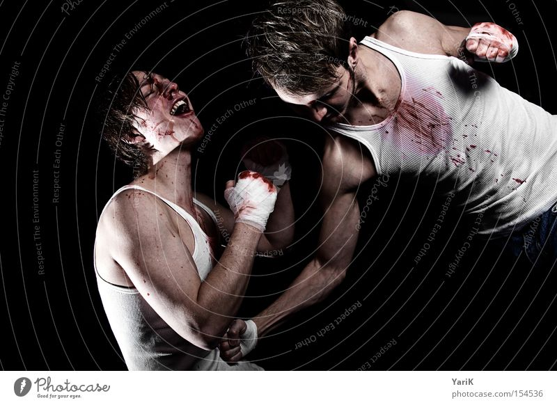 Face Power Force Scream Stomach Blood Fight Hard Blow Fist Martial arts Boxing Perspiration Chastisement Sports Stomach