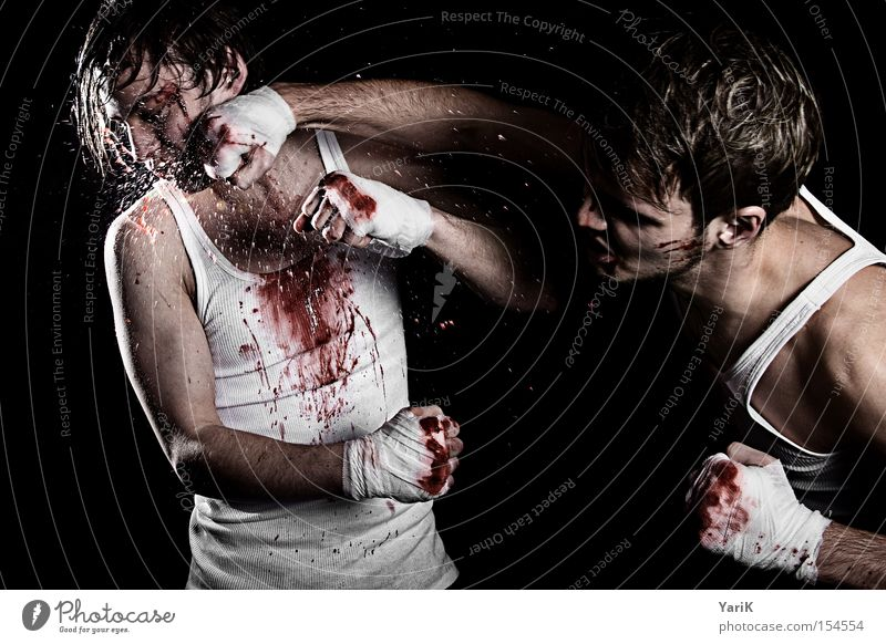 Adults Face Young man Power Masculine Force Argument Fight Blood Sports Hard Aggression Inject Fist Wound