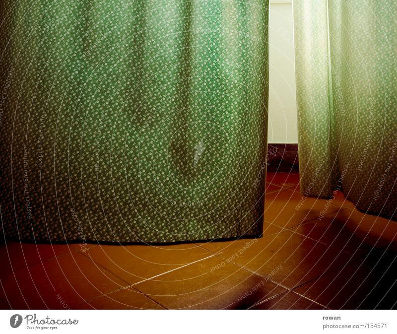 green-red Drape Curtain Cloth Pattern Green Wind Tile Light Window Blow Breeze Detail