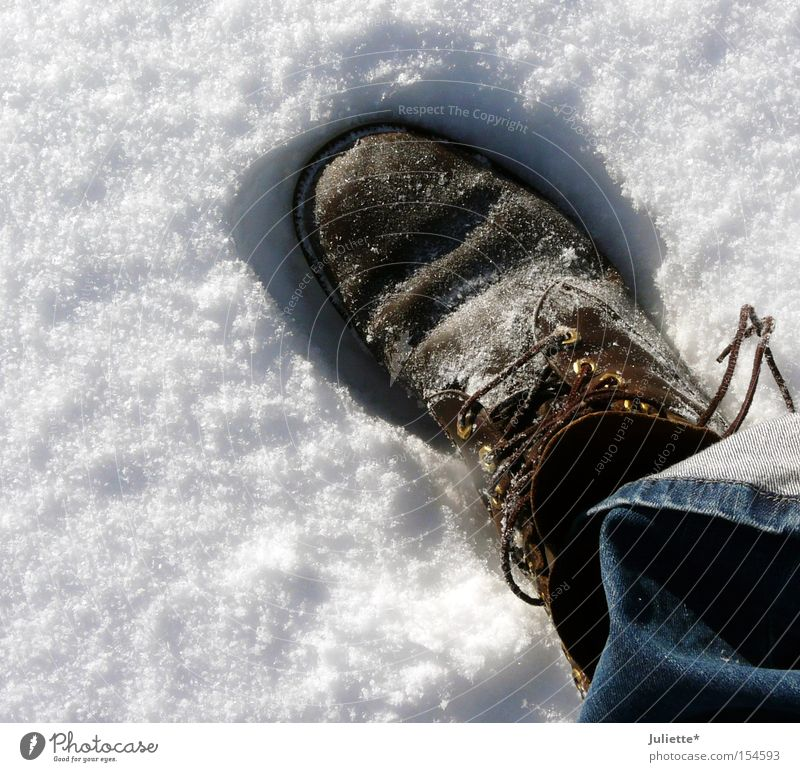 Big Foot Footwear Large Shoelace To go for a walk Loneliness Jeans Pants Brown White Blue Cold Freeze Footprint Snow Winter Leisure and hobbies
