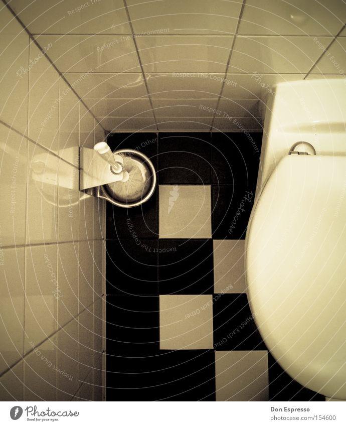 White Black Corner Toilet Tile Checkered Section of image Partially visible Toilet brush Toilet seat