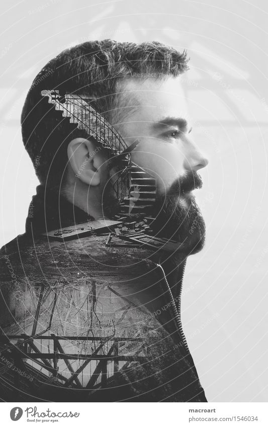thoughts Thought Double exposure Head Man Masculine Portrait photograph Stairs Roof Cellar Ruin Think Loneliness Facade Black White Profile laterally
