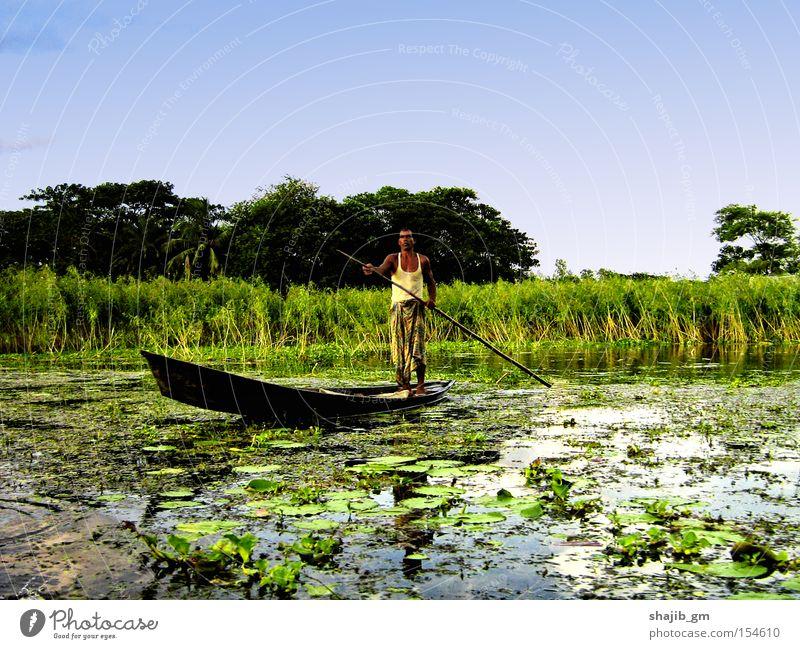 Strugle Watercraft Marsh Man Nature Sky Green Hurdle Poverty River Brook