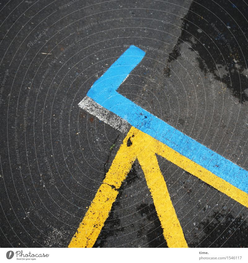 blue & hook to it Transport Traffic infrastructure Street Lanes & trails Parking lot Asphalt Tar Signs and labeling Line Corner Blue Yellow Black Esthetic