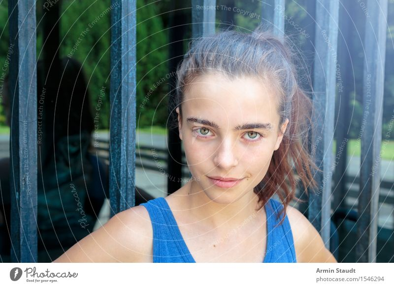 Human being Youth (Young adults) Blue Summer Beautiful Young woman Face Emotions Feminine Lifestyle Head 13 - 18 years Glass Uniqueness Cool (slang) Brunette