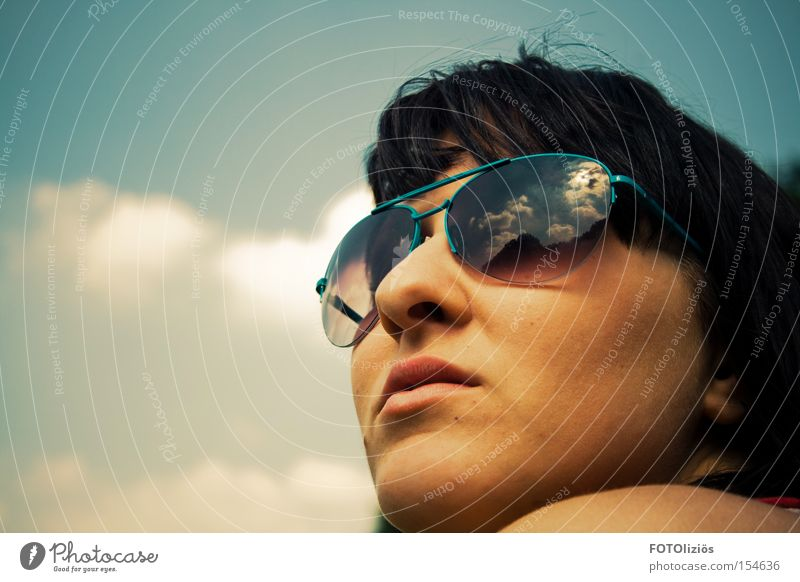 Spring, I long for you. Face Woman Adults Sky Clouds Warmth Sunglasses Think Moody Flying goggles Reflection & Reflection
