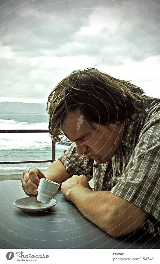 Coffee's cold! Espresso Anger Bad mood Whim Sour Aggravation Annoy Beach Café Drinking Man Agitated