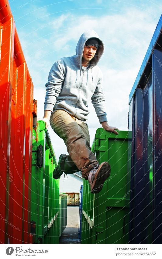RGB balance Red Green Blue Container Rest on Jump Colour Young man 18 - 30 years Only one man 1 Person Individual Full-length Dexterity Articulated Athletic