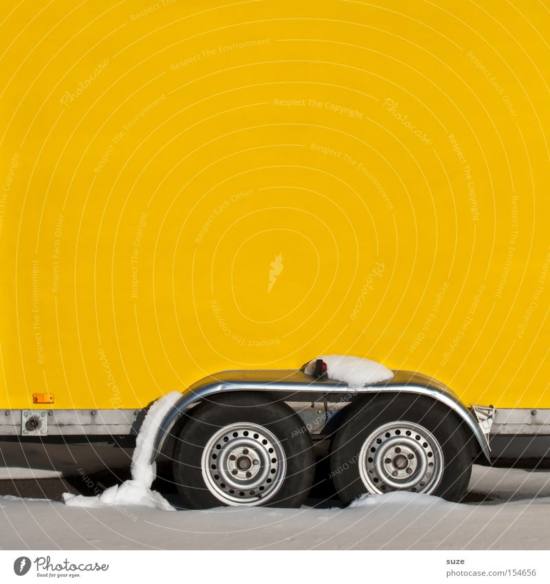 Winter Yellow Snow Wall (building) Transport Driving Logistics Wheel Load Trailer Copy Space left Axle Snow layer