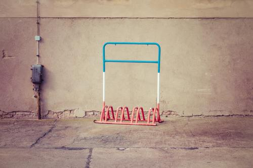 France Town House (Residential Structure) Wall (barrier) Wall (building) Facade Lanes & trails Concrete Metal Line Blue Gray Red White Colour Bicycle rack Cable