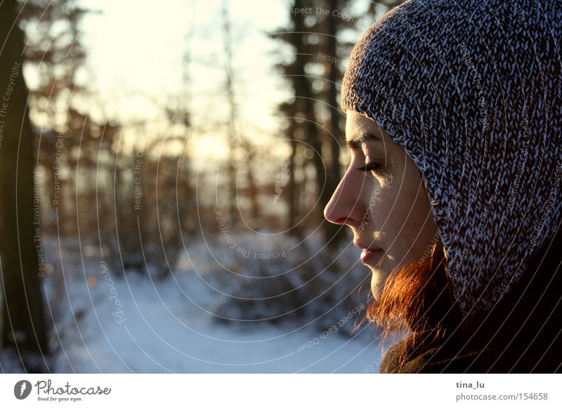 Woman Human being Nature Beautiful Sky Sun Winter Forest Cold Snow Lighting Peace To enjoy