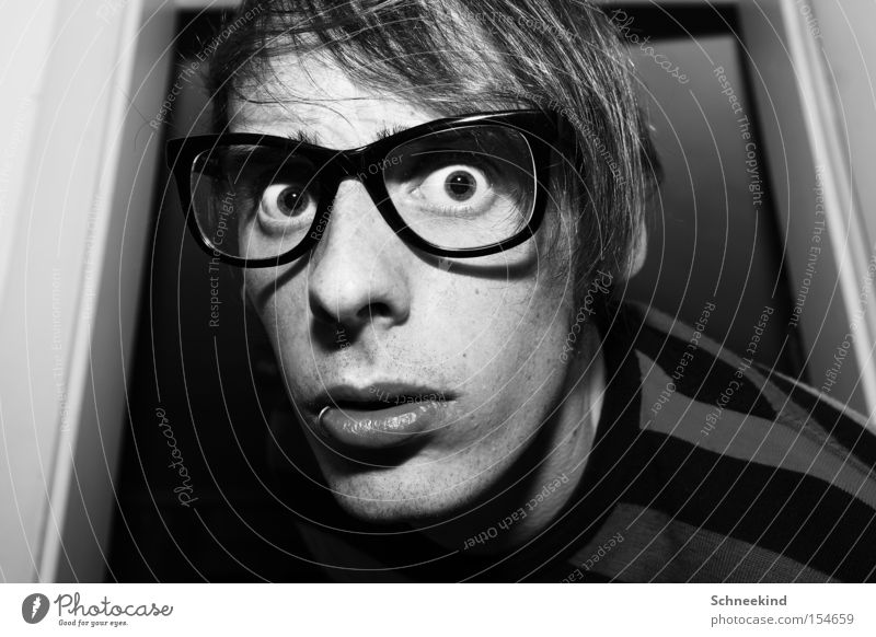 50... I'm going crazy. Man Fellow Self portrait Black & white photo Eyeglasses Crazy Striped Flat (apartment) Portrait photograph Face Soul Piercing Joy Success