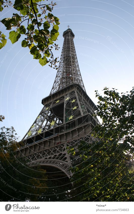 La Tour Eiffel. Eiffel Tower Paris Landmark Seine Monument sunny day The city of love Stairs