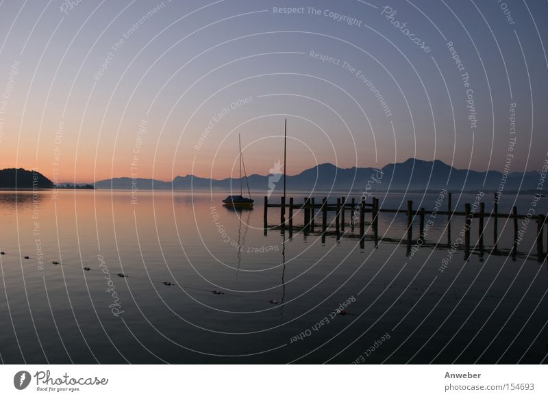 Chiemsee at sunrise before the Chiemgau Alps Water Lake Chiemsee German Alps Bavaria Germany Mountain Sunrise Sunset Panorama (View) Vacation & Travel Beautiful