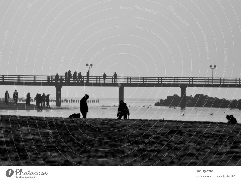 pier Human being Beach Baltic Sea Sea bridge Health Spa Vacation & Travel Relaxation Ocean Coast Black & white photo