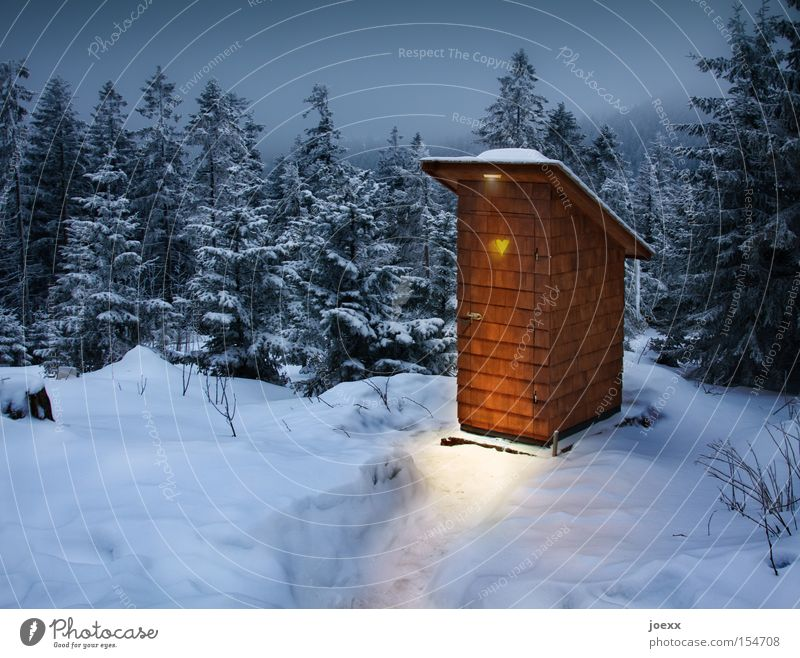squat Winter Snow Mountain Landscape Forest Hut Heart Cold Blue Brown Yellow Black White Loneliness Fear Vacation & Travel Healthy Mobility Lanes & trails