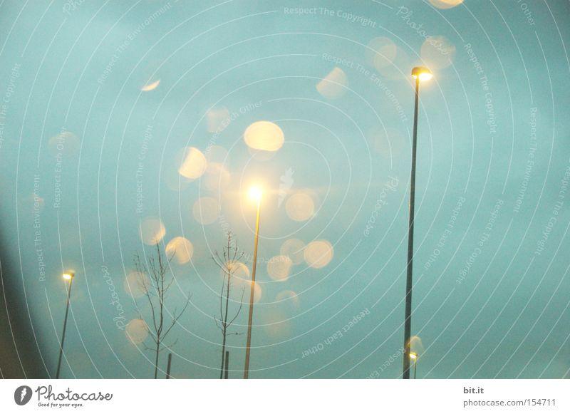 Sky Blue Tree Street Dark Dream Moody Lamp Art Lighting Glittering Energy industry Technology Light Desire