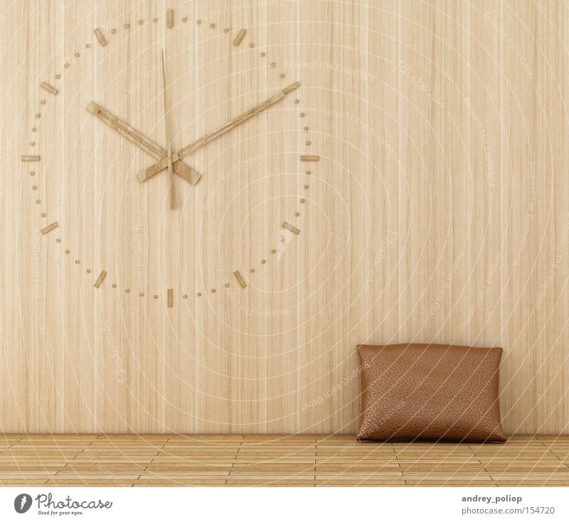 wood clock on a wooden wall Wood Brown Room Skin Design Modern Retro Clock Interior design Cushion Date Classic Chrome Flour