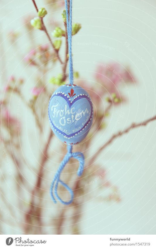 Happy Easter in blue Hang Easter egg Characters Handwriting Painted Self-made Bow Blue Bavarian Heart String Delicate Vintage Retro Flower Pink Colour photo