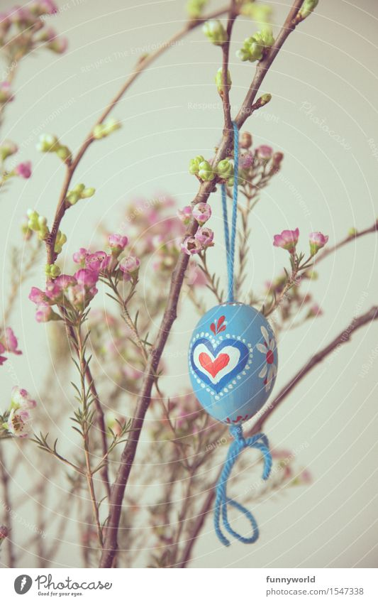 Easter from the heart Hang Easter egg Heart Self-made Decoration Painted String Blue Bavarian Delicate Retro Flower Red Colour photo Interior shot Deserted Day
