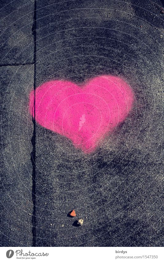 It must be love Sign Heart Illuminate Authentic Positive Gray Pink Black Spring fever Love Infatuation Esthetic Relationship Happy Colour photo Exterior shot