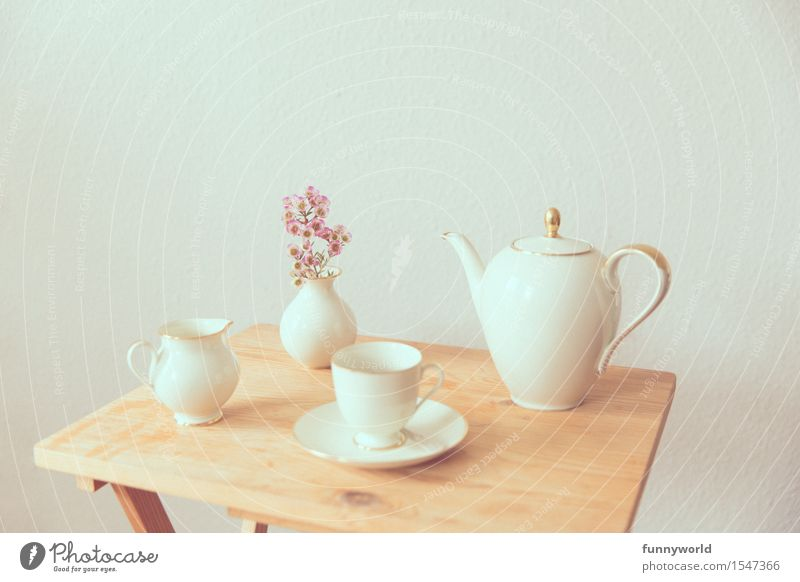 leisure hour To have a coffee Retro Crockery Bouquet Coffee pot Coffee cup Vase Table Wood Wooden table Delicate Vintage Break Afternoon Sunday
