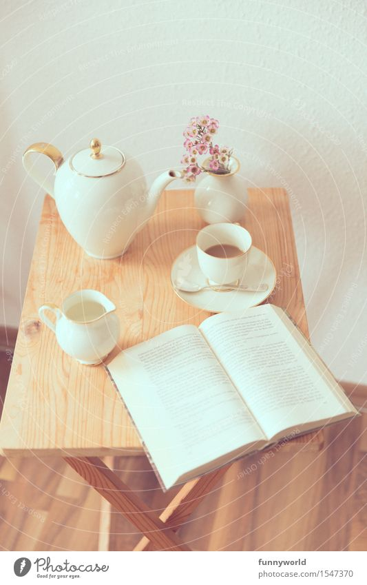 time-out Coffee Reading Table Book Struck Coffee cup Coffee pot Homey Decoration Break Jug Afternoon Closing time Crockery Old Colour photo Copy Space top Day