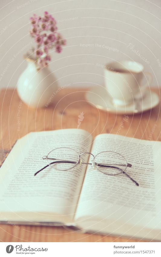 Spring Flat (apartment) Living or residing Leisure and hobbies Decoration Book Eyeglasses Reading Coffee Bouquet Cozy Wooden table Spring fever Sunday Coffee cup Weekend