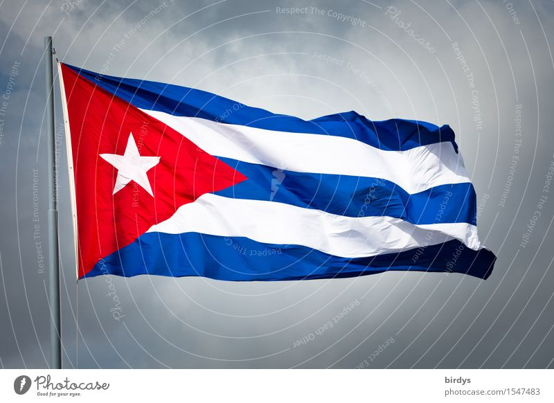 Cuba, where the journey leads... Clouds Bad weather Wind Flag Illuminate Esthetic Authentic Original Positive Blue Red White Honor Agreed Loyal Movement