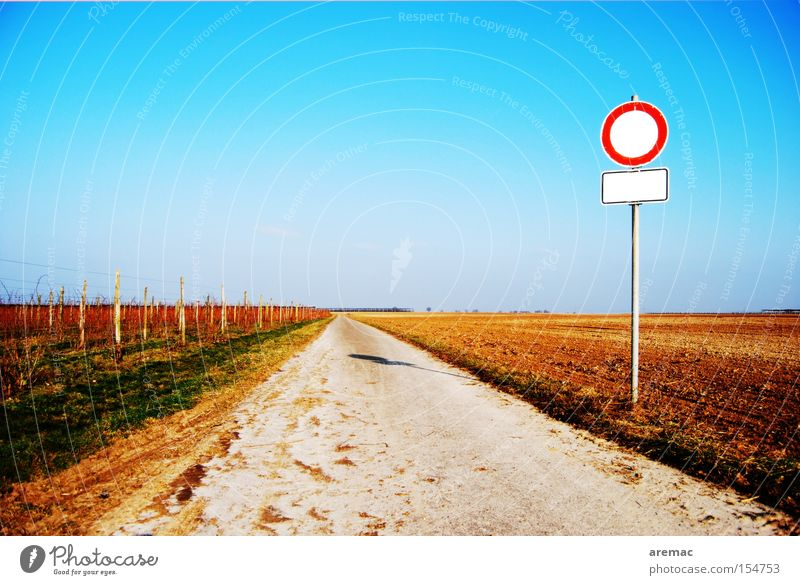 yawning void Lanes & trails Street Direct Right ahead Signs and labeling Bans Passage Empty Landscape Street sign