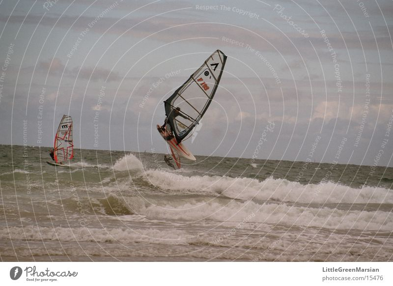 Sports Jump Waves Wind Flying Sail Surfer