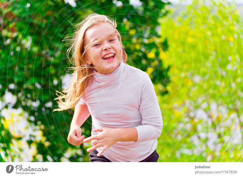Cute running girl in summer Lifestyle Relaxation Leisure and hobbies Playing Summer Dance Sports Child Schoolchild Girl Woman Adults Infancy 3 - 8 years