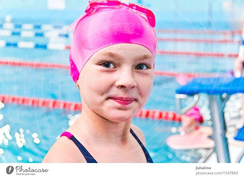 Cute girl in swimming pool Swimming pool Sports Child Schoolchild Girl Infancy 3 - 8 years 8 - 13 years Wet White kid preschooler six 7 Caucasian European water