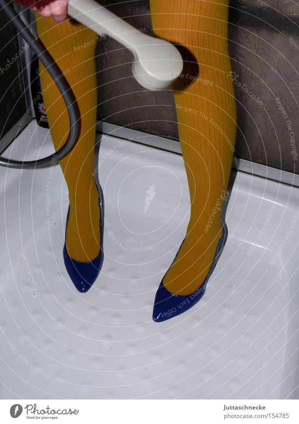 Woman Blue Yellow Legs Footwear Cleaning Services Stockings Tights Shower (Installation) Household High heels Take a shower Shower tub