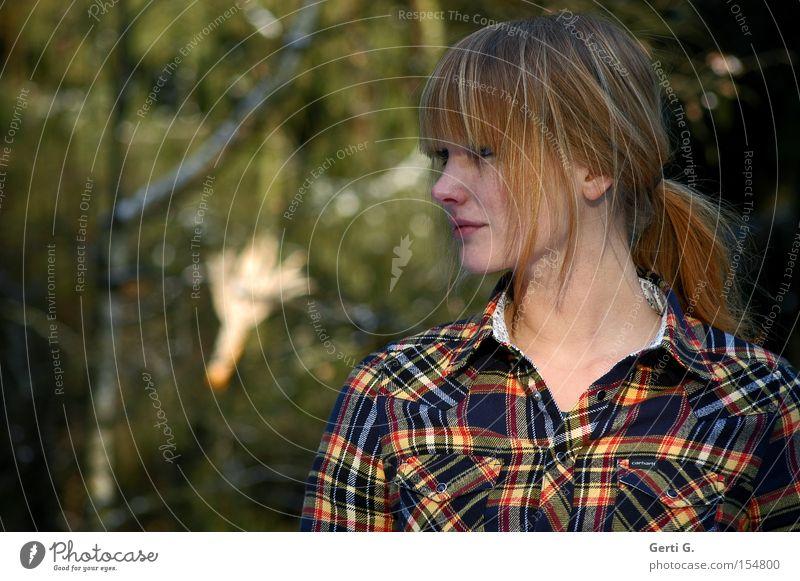 Woman Tree Forest Emotions Communicate Shirt Checkered Braids Corn cob