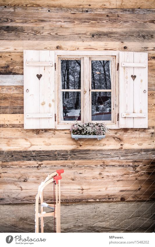 at the hut House (Residential Structure) Hut Old Alpine pasture Sleigh Wooden house Window Shutter Heart Rustic Winter vacation Austria Snow Colour photo