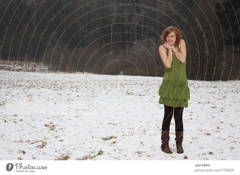 A little cold? Woman Dress Green Stripe Winter Snow Cold Boots Freeze Contentment Grinning Youth (Young adults)