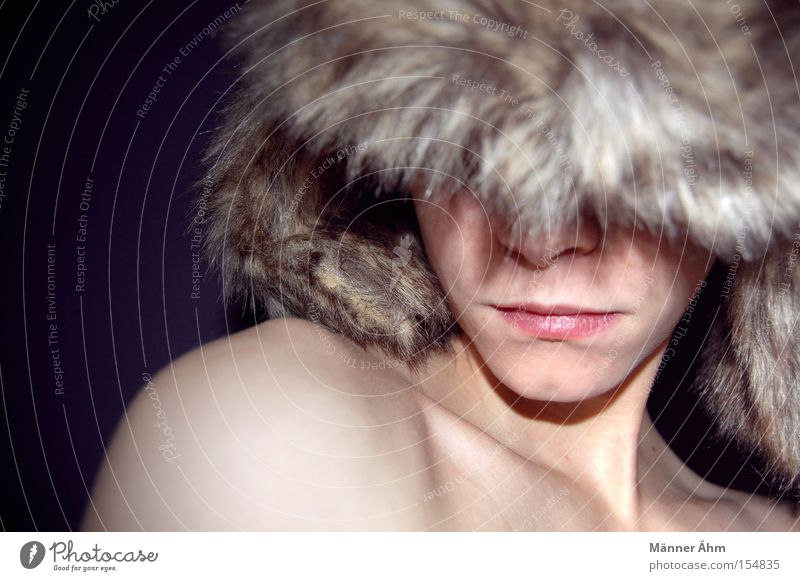 Ice Ice Baby. Cap Pelt Headwear Shoulder Woman Chin Face Skin Freeze Winter Clothing Nose