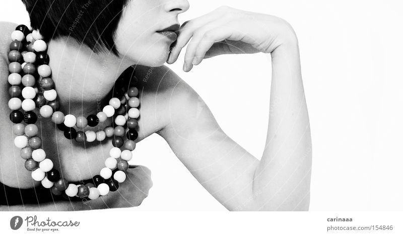 Woman Human being Hand Arm Chain Pearl Black & white photo Colorless