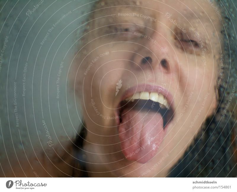 Woman Water Drops of water Wet Teeth Tongue Refreshment Take a shower
