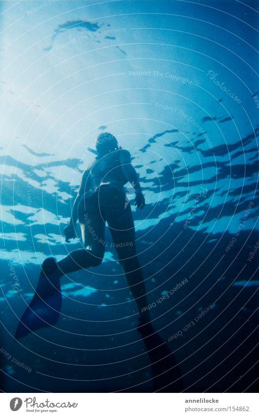 Woman Water Ocean Summer Waves Dive Bikini Go up Water wings Aquatics Diver Mediterranean sea Snorkeling Surface of water Emerge