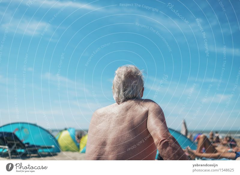 Elderly man relaxing on a tropical beach Lifestyle Relaxation Vacation & Travel Tourism Summer Beach Retirement Man Adults Coast Old holiday seaside senior