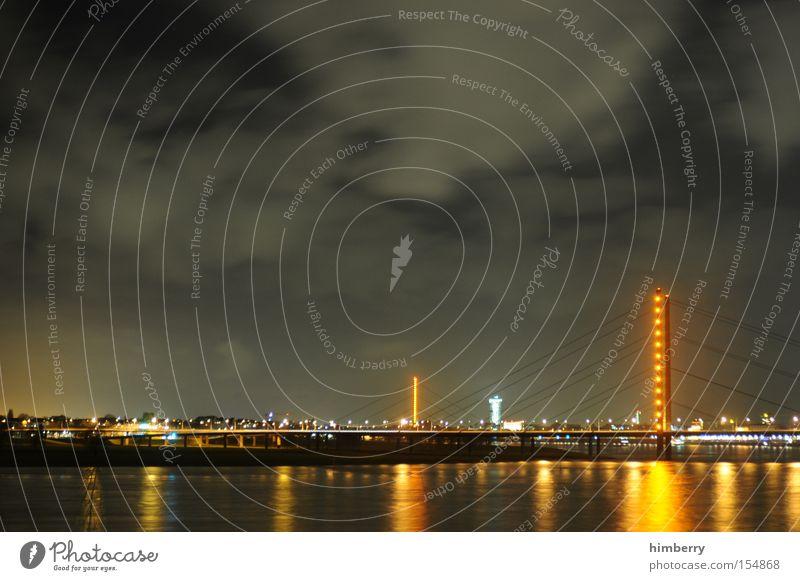 City Moody Lighting Transport Bridge River Duesseldorf Night life Atmosphere Shift work